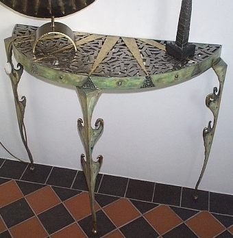 Painted steel hall table