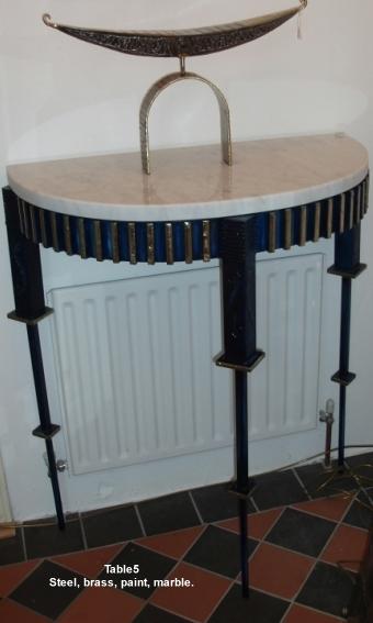 Steel & marble hall table