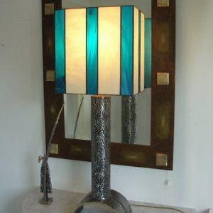 Polished steel & brass lamp