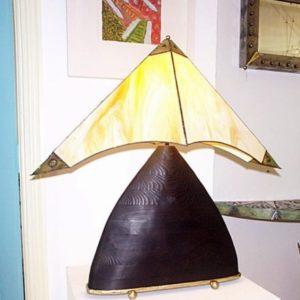 Glass & wood lamp