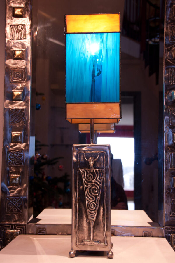 Polished steel & glass lamp