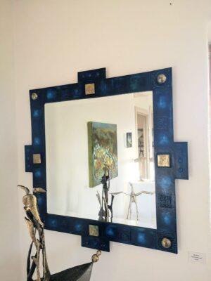 Painted steel & brass mirror