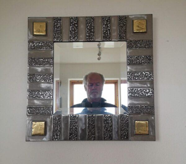 Polished steel & brass mirror