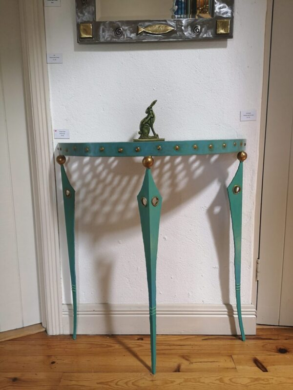 Painted steel table & hare