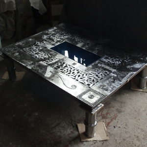 Polished steel & brass table