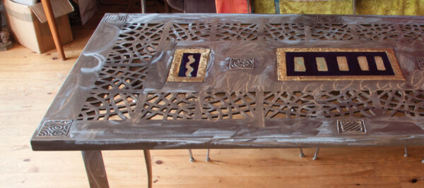 Polished steel & brass table & chairs