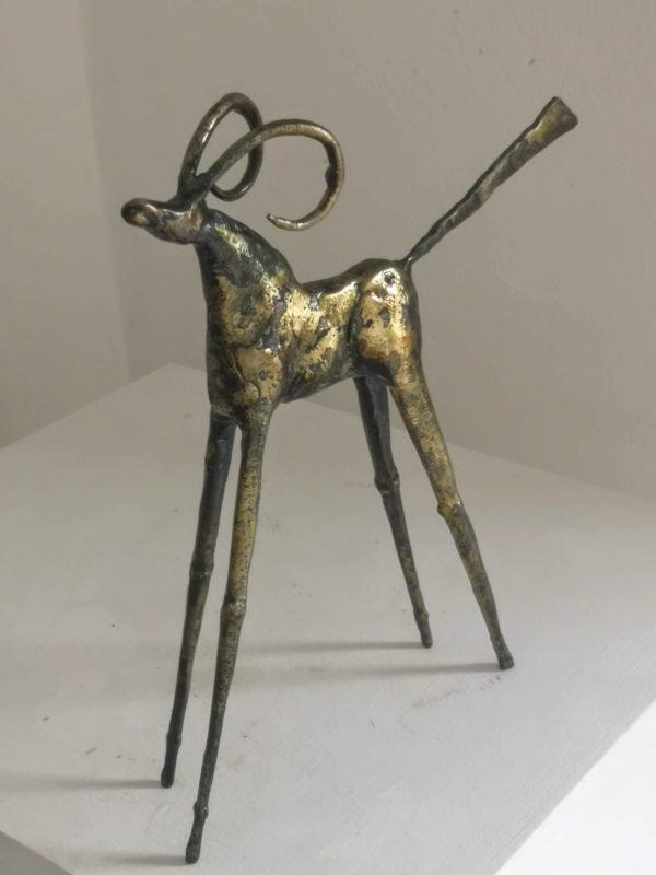 Polished steel & brass goat sculpture