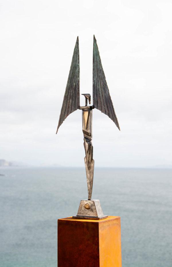 Stainless steel & bronze figure sculpture