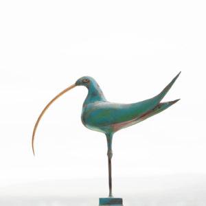 Painted steel & brass bird sculpture
