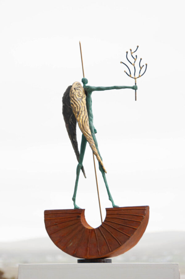 Painted steel & brass figure sculpture