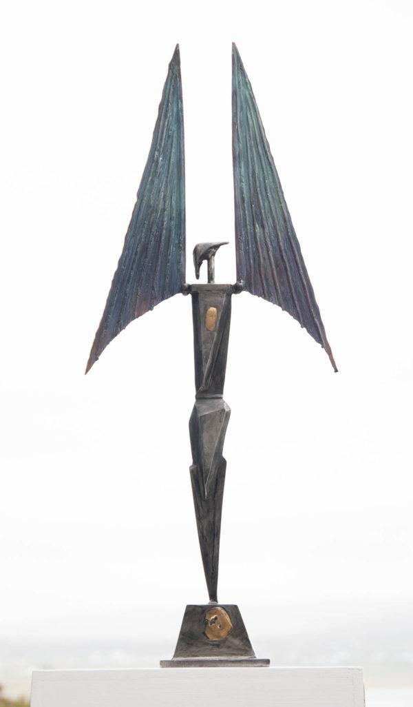 Stainless steel & bronze figure