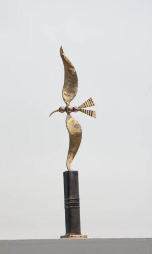 Brass & steel bird sculpture