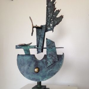 Brass, bronze boat sculpture