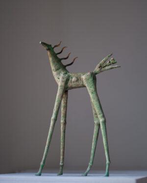 Painted bronze horse sculpture