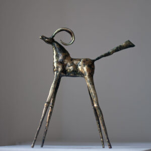 Bronze & steel goat sculpture