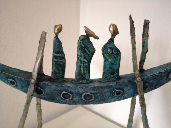 Painted steel & brass boat sculpture