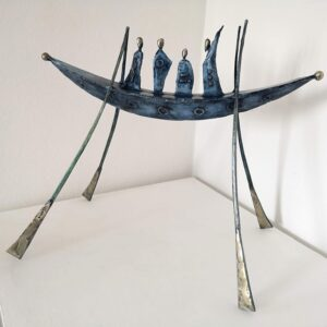 Painted steel & brass boat sculpture
