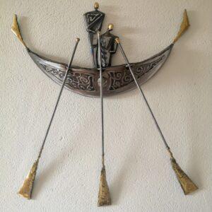 Steel & Brass boat, wall sculpture