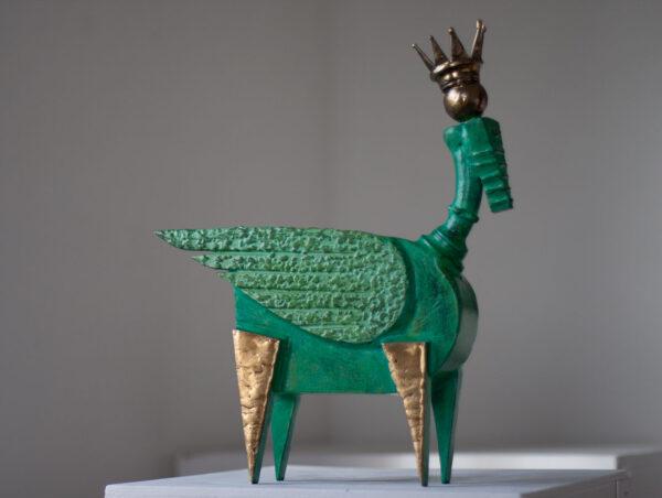 Painted steel winged bull sculpture