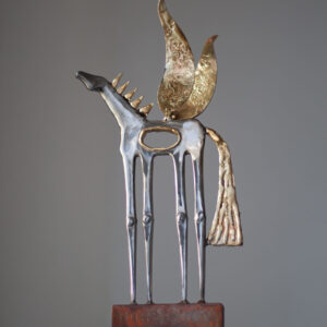 Polished steel & brass winged horse sculpture