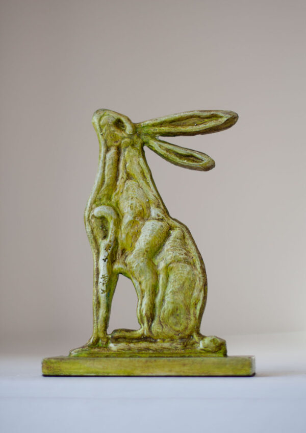 Painted steel hare sculpture