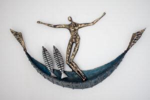 Polished steel & brass boat sculpture